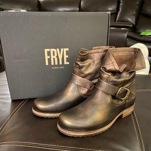 Frye Veronica Moto Bootie Bronze 6.5 NIB